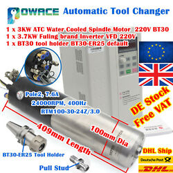 3kw 220v Atc Water Cooling Cnc Spindle Motor Automatic Tool Change+3.7kw Vfd【uk】