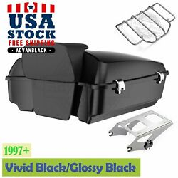 Advan Vivid Black Chopped Tour Pack Pad Luggage Trunk For 97+ Harley Touring