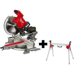 Milwaukee Miter Saw Kit 18-volt Cordless 12 In. Dual Bevel Sliding Stand Battery
