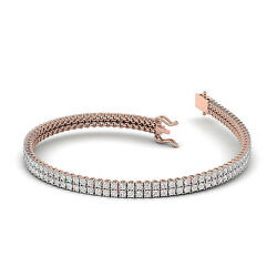 Dgla Certified 4.00ct Natural Double Row Round Diamond Tennis Bracelet Crafted