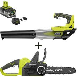 Ryobi Electric Cordless Chainsaw Leaf Blower 12 In. 18-v 4.0 Ah Battery Charger