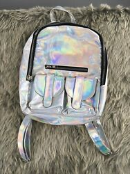 Unif Gamma ray Silver Metallic Chrome Holographic Pocket Zip Up Back Pack Bag $49.99