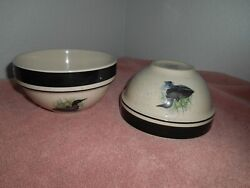 4 Folkcraft Stoneware Loon Lake Duck Dinner Coupe Bowls By Scotty Z