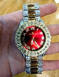 Gold Silver Iced Watch Bling Rapper Simulate Diamond Metal Band Luxury Cubic Red