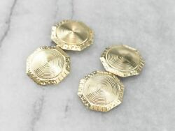 Late Art Deco Etched Green Gold Cufflinks