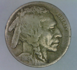 1919 D Buffalo Nickel Very Fine Five Cents United States Bison 5 C S 1
