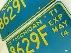 Nos Vintage 1971 Michigan 1/2 Year Commercial Truck License Plate Set Unused