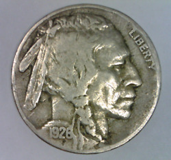 1926 S Buffalo Nickel Very Fine Five Cents United States Bison 5 C D 1