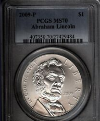 2009-p Lincoln 200th Anniversary Of Birth Silver 1- Pcgs Ms70 Perfect - White