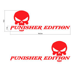 The Punisher Edition Skull Decals Stickers Vinyl Cut Text Graphic Decal 14.3x5in
