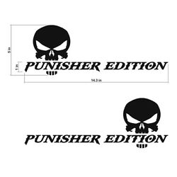 The Punisher Edition Skull Decals Stickers Vinyl Cut Text Decal 14.3x5in