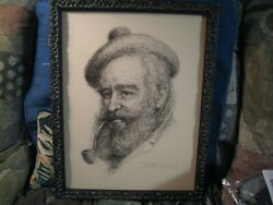 Jose Fuentes De Salamanca ORIGINAL Pen & Ink Of Old Man Smoking A Pipe