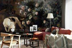 3d Dogs Rose Bush Self-adhesive Removeable Wallpaper Wall Mural Sticker 38