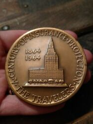 Vintage The Travelers Insurance 1964 Bronze Coin 100th Anniversary Medallic