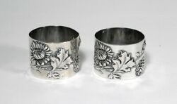 2 Antique German 800 Silver Floral Repousse Napkin Rings Bruckmann And Sohne