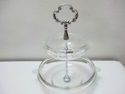 Walther Mikasa Glass Tidbit Tray Or Server 2 Tier Crystal Clear Frosted 9 1/2 T