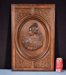 24 Tall French Antique Deeply Carved Panel In Solid Walnut Wood With Queen