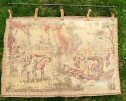 vtg tapestry made in France 37 x 24quot; image of 1700 or 1800s court
