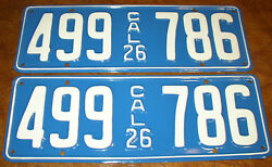 1926 California Plates Oakland Cadillac Chevy Buick Willys Dodge Peerless Desoto