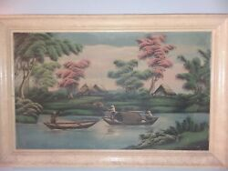 Antique Chinese Oil Painting On Canvas Signed Fishing Scene