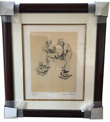Norman Rockwell Signed Framed Artist Proof Lithograph Christmas Artwork 1954
