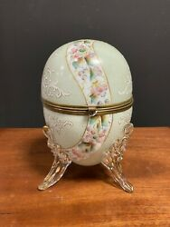 Antique 19th Century French White Oval Opal Glass Egg