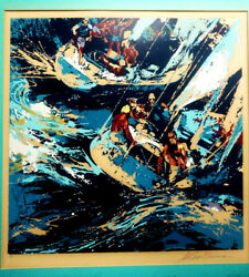 Leroy Neiman 1970and039s Colored Ap Serigraph Artist Pencil Signed Two Twelves 24x24