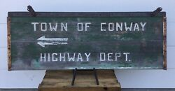 Wow Rustic Lrg Vintage Wood 2 Sided Town Of Conway Highway Dept Arrow Sign N.h.