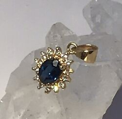 Sapphires And Diamond Pendant In 14k Yellow Gold - Fine Quality Item