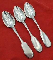 3 Matching 84 Silver Russian Fiddle Pattern Serving Spoons 10672