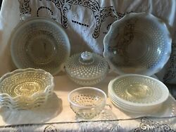 15 Pcs Vtg Anchor Hocking Moonstone Opalescent Plates, Bowls,covered Dishes Etc