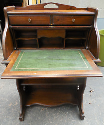 Antique Vintage Wood Roll Top Desk W/ Dovetail Drawers And Leather Writing Surface