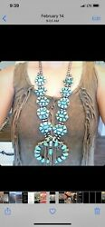 Huge Authentic Turquoise Squash Blossom Necklace Photos Do Not Do Justice