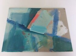 Original Sally King Benedict Signed Abstract Art On 12andrdquo X 16andrdquo Linen Canvas Panel
