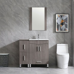 36 Bathroom Vanity Cabinet Base Shaker Style With Sink Faucet Drain