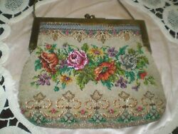Antique Victorian Beaded Bag Purse Glass Beaded Floral Flowers Roses Hand Made