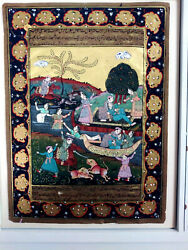 Old India Painting Woman Bathing In River Gold Leaf Writing On Back 9x13