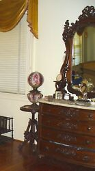 Antique Marble Top Dresser And Mirror Victorian American 1880