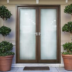 Aleko Glass Aluminum Double Door With Frame 72 X 84 Inches- Chestnut