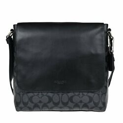 Coach Charles Small Messenger In Signature Charcoal Black F54771 $129.22