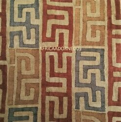 W3q African Inspired Kuba Tribal Print Cotton Upholstery Fabric Bty Rustic