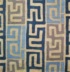 W3q African Inspired Kuba Tribal Print Cotton Upholstery Fabric Bty Blues