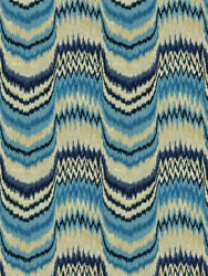 Clarence House Fitzgerald Flame Stitch Cut Velvet Fabric 5 Yards Blues