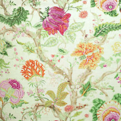 Clarence House Arbre Devie Floral Linen Blend Print Fabric 10 Yards Pink Green