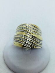 10k Solid Two Tone Gold Diamond .30 Carats Wedding Band Duo Set Rings