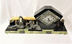 Art Deco Clock Original Girl With A Dog Spelter And Ivorine Hands And Face