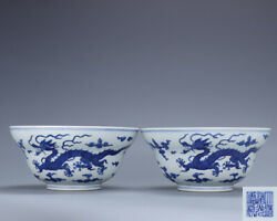 6.6 Antique Old China Porcelain Daoguang Mark Blue White Dragon Bowl A Pair