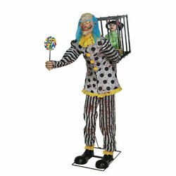 Halloween Circus Clown And Caged Girl Life Size Animated Prop Candy Haunted Decor