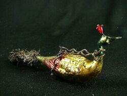 Antique Glass Ornamentbird W Head Plume, Wire Cable Wrapping And Spun Glass Tail