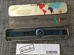 United Colours Of Benetton by Bulova Vintage Watch Blue With Case Tin
